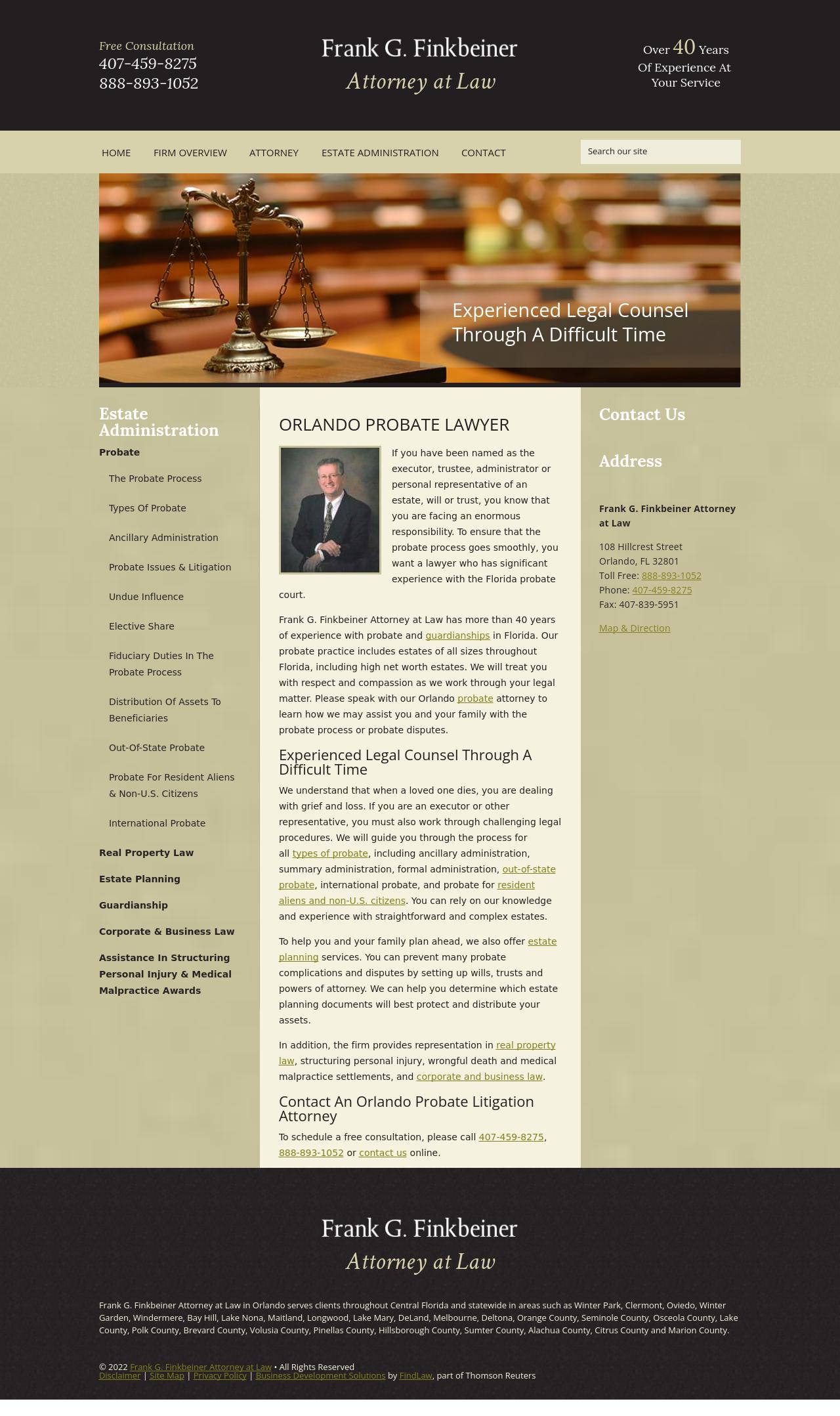 Frank G. Finkbeiner Attorney at Law - Orlando FL Lawyers