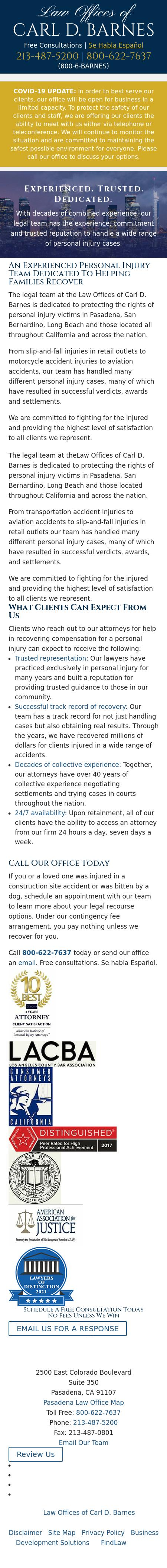 Barnes Carl D Law Offices Of | Los Angeles CA Law | LawyerLand