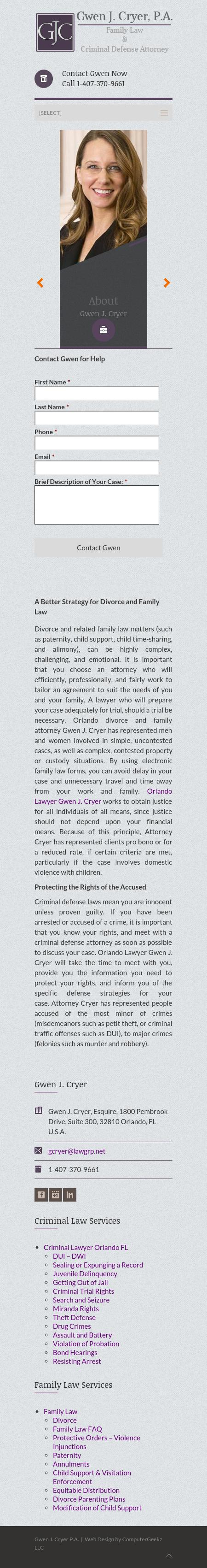 Gwen J. Cryer, Attorney at Law - Orlando FL Lawyers