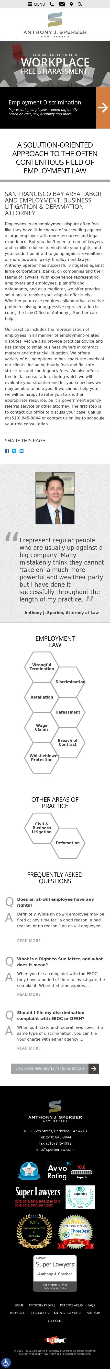 Law Office of Anthony J. Sperber - Berkeley CA Lawyers