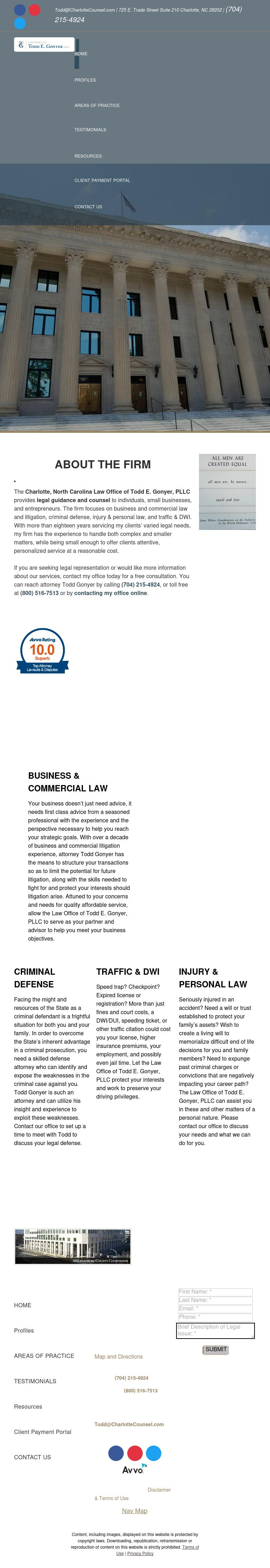 Law Office of Todd E. Gonyer, PLLC - Charlotte NC Lawyers