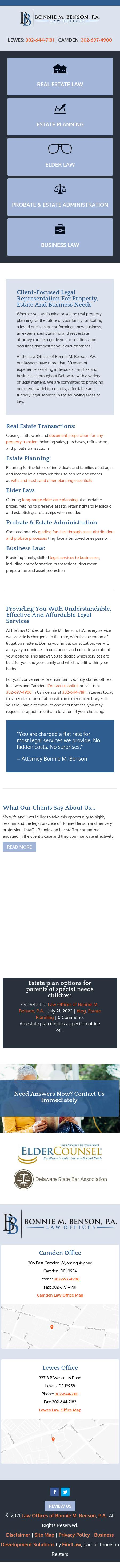 Law Offices of Bonnie M. Benson, P.A. - Camden DE Lawyers