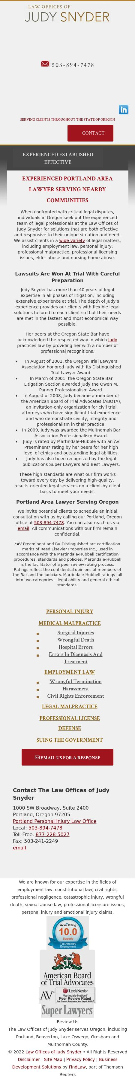Law Offices Of Judy Snyder - Portland OR Lawyers