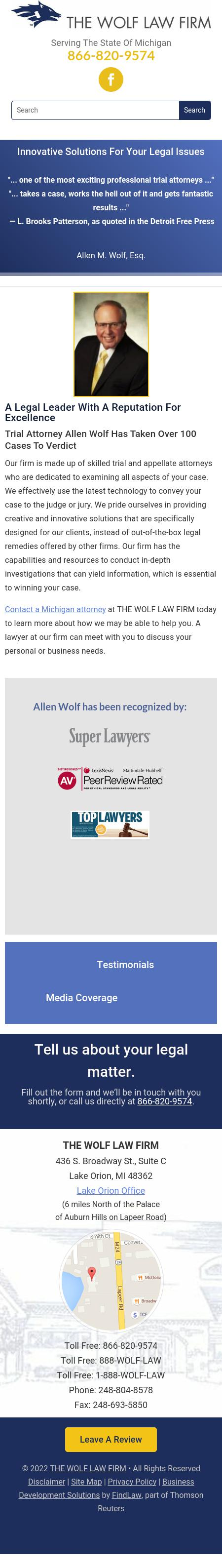 THE WOLF LAW FIRM - Lake Orion MI Lawyers