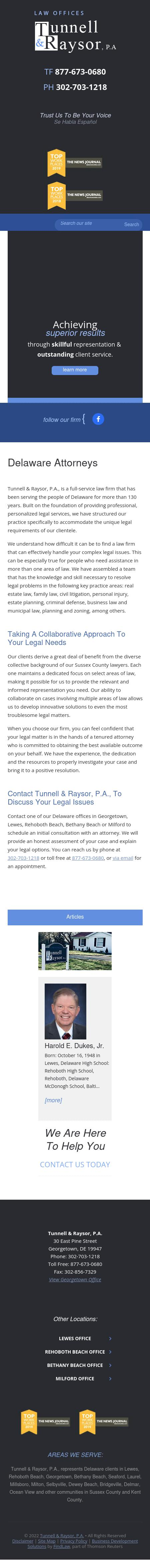 Tunnell & Raysor, P.A. - Lewes DE Lawyers