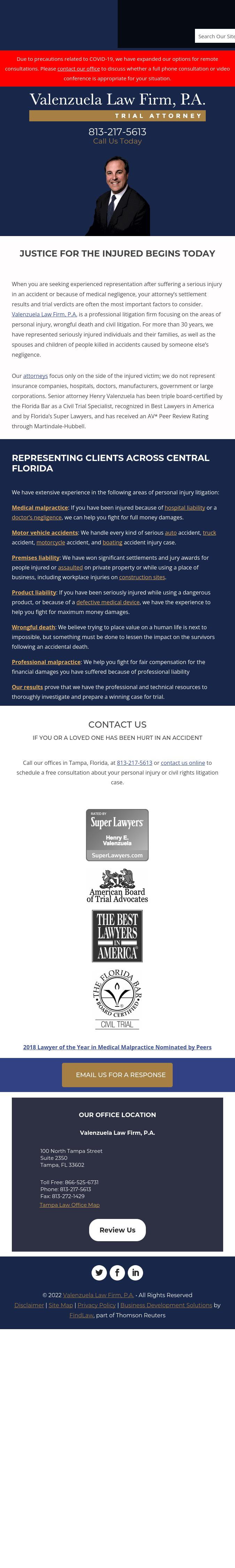Valenzuela Law Firm, P.A. - Tampa FL Lawyers