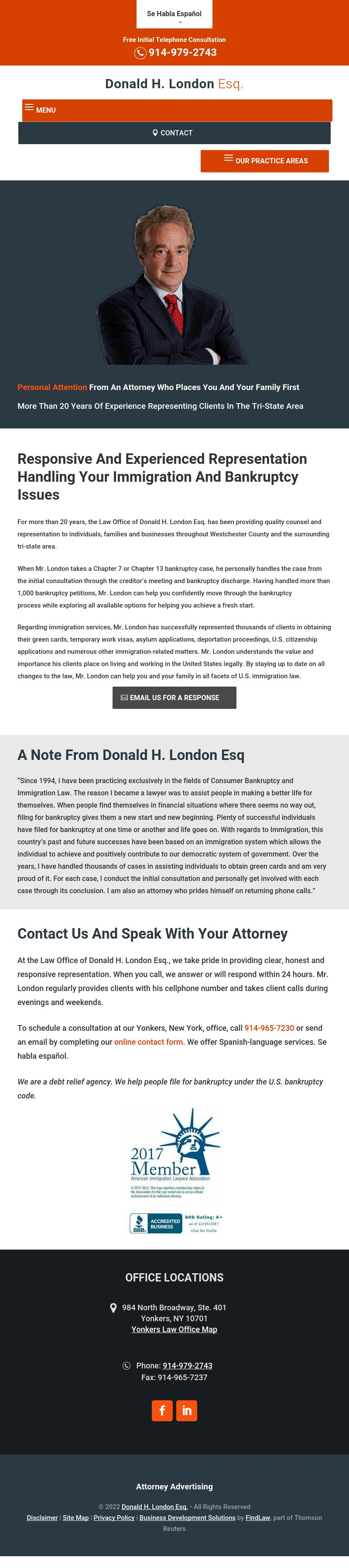 Donald H. London Esq. - Yonkers NY Lawyers