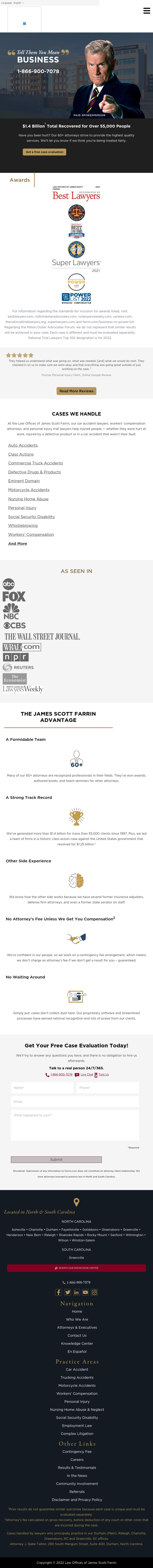 Law Offices of James Scott Farrin - Greenville NC Lawyers