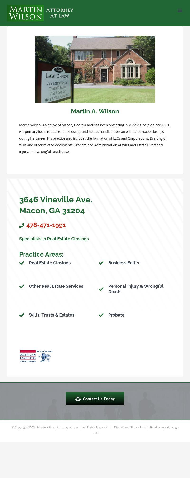Martin Wilson, Attorney at Law - Macon GA Lawyers