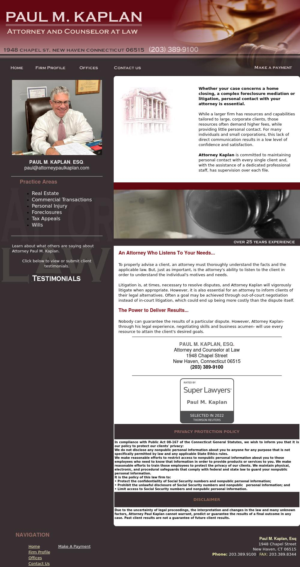 Paul M. Kaplan, Esq. - New Haven CT Lawyers